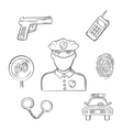 Policeman in uniform with sketched police icons vector image