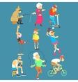 Old People Activities Set vector image