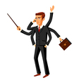 Businessman running ihurry with many hands holding vector image
