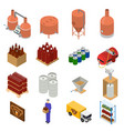 equipment and beer production set isometric view vector image