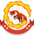 Fox jumping through fire hoop vector image