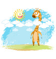 giraffe and sun vector image