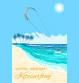 kitesurfing summer watersport poster vector image
