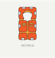 line flat color beach rescue equipment icon vector image