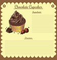 recipe chocolate cupcake vector image