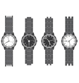 Set wristwatch with bracelet vector image