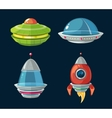 Spaceship and spacecrafts cartoon set for space vector image