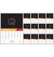 Calendar 2017 template design Week starts from Sun vector image