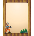 An empty wooden frame with a lumberjack holding an vector image