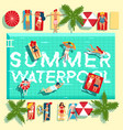 summer holidays swimming pool flat poster vector image