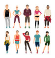 yound people in sport outfits vector image