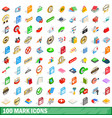 100 mark icons set isometric 3d style vector image