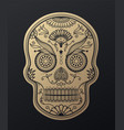 sugar skull day of the dead golden vector image