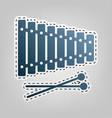 xylophone sign  blue icon with outline for vector image