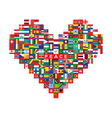 heart made of flags icons vector image vector image