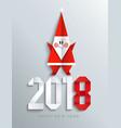 new 2018 year paper greeting card with santa vector image vector image