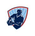 Rugby Player Passing Ball Shield Retro vector image vector image