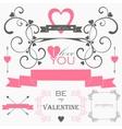 Decorative set of artistic valentins day elements vector image
