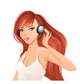 Woman with headsets vector image