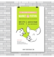 Poster design template with pig and chicken vector image