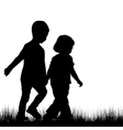 Couple of children silhouettes outdoor vector image