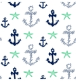 Nautical anchor seamless pattern on white vector image