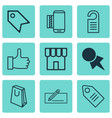 set of 9 e-commerce icons includes ticket price vector image