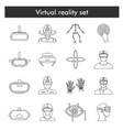 virtual reality icons set in black simple style vector image