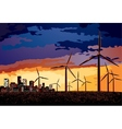 Electrical windmill over evening cityscape scene vector image vector image