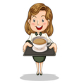 A happy businesswoman holding a tray with a cup of vector image