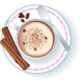 coffee cup with cappuccino vector image vector image