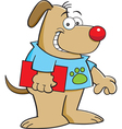 Cartoon dog holding a book vector image