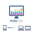 music and phone logo combination Equalizer vector image