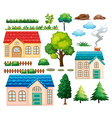 Houses and different plants vector image vector image