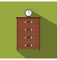 Dresser with a clock flat icon vector image