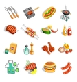 Barbecue Food Accessories Flat Icons Set vector image