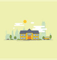 bright flat of school building for vector image