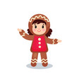 cute little girl in the costume of gingerbread vector image