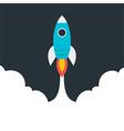 Flat stylized flying rocket vector image
