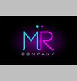 neon lights alphabet mr m r letter logo icon vector image