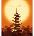 Pagoda at Sunset vector image