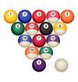 pool billiard balls in starting position vector image
