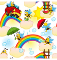 seamless pattern with bee on rainbow vector image