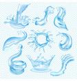 water waves splash drop of waterfall vector image