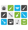 Flat Cooking equipment and tools icons vector image