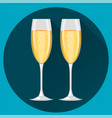 two champagne glasses on dark blue round vector image
