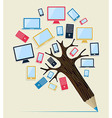 Gadget devices concept pencil tree vector image vector image