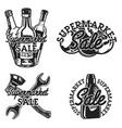 vintage supermarket sale emblems vector image