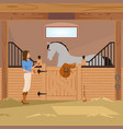 trotter in stall flat composition vector image