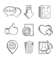 Multimedia and social media sketched icons vector image